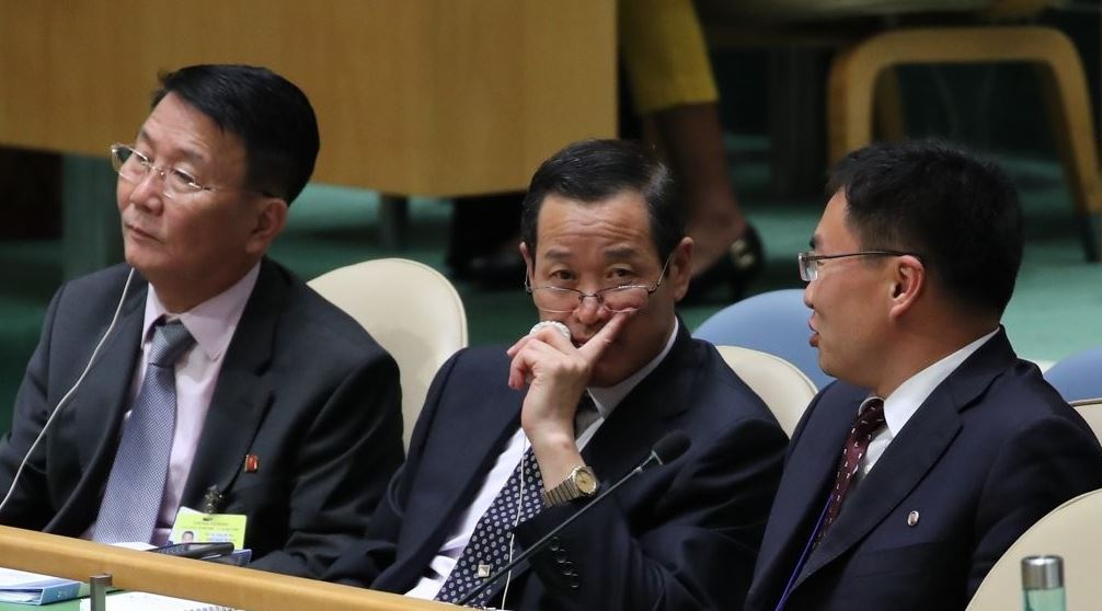North Korean diplomats at the UN General Assembly in New York in Sept. 2018 (Yonhap)