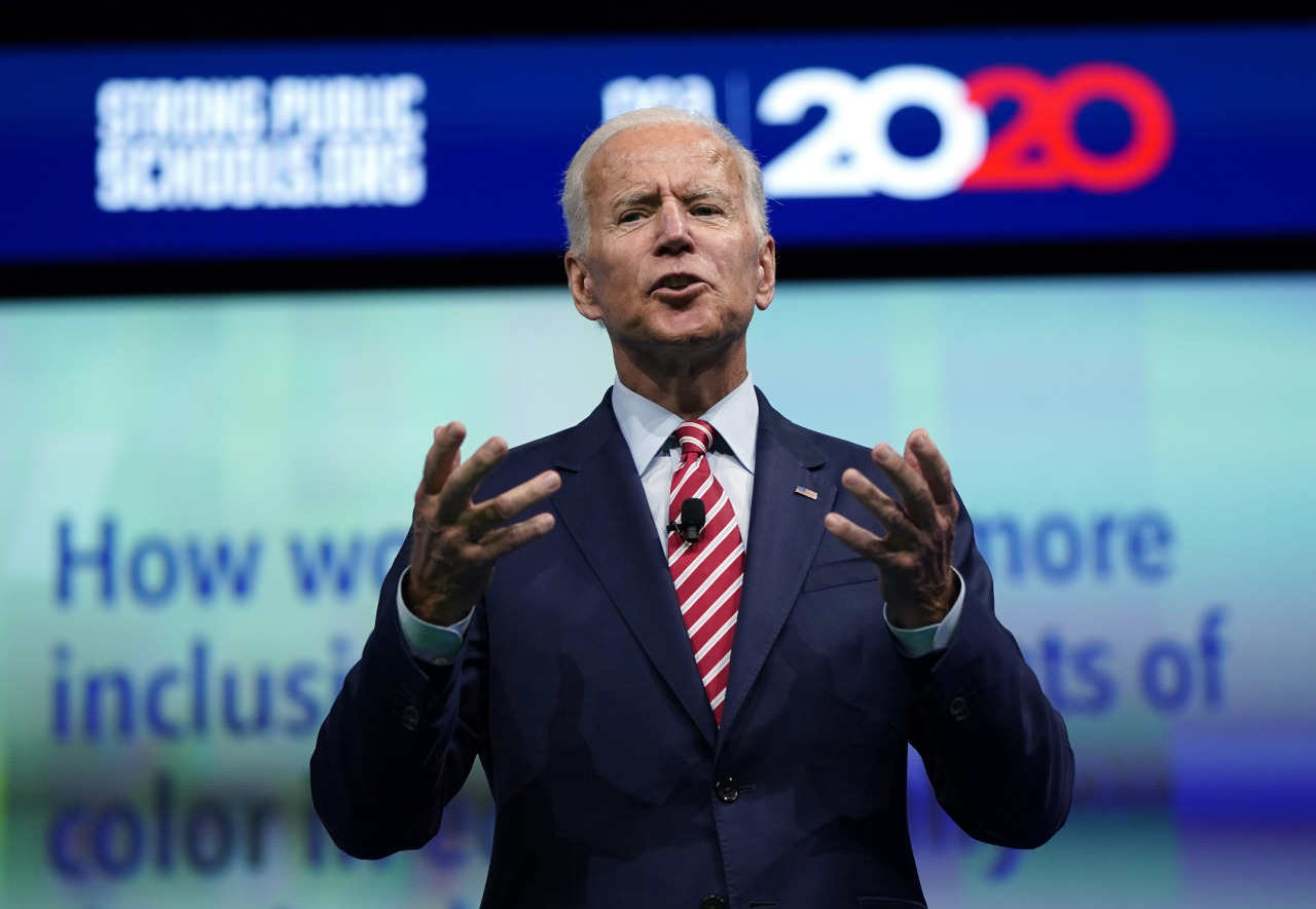 Democratic presidential candidate and former vice president Joe Biden speaks during the National Education Association Strong Public Schools Presidential Forum Friday in Houston. (AP)