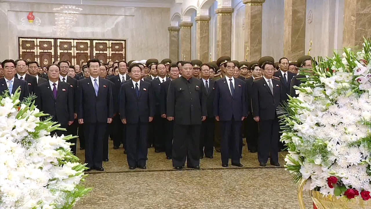 North Korean leader Kim Jong-un pays respects to his late grandfather and founder of North Korea Kim Il-sung at the Kumsusan Palace of the Sun, in Pyongyang, Monday. (KCNA)