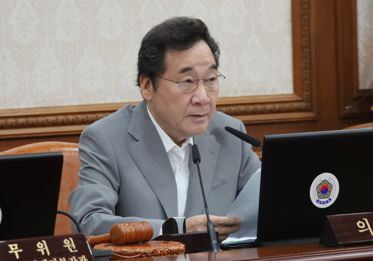 Prime Minister Lee Nak-yon speaks at the Cabinet meeting in Seoul on Tuesday. Yonhap