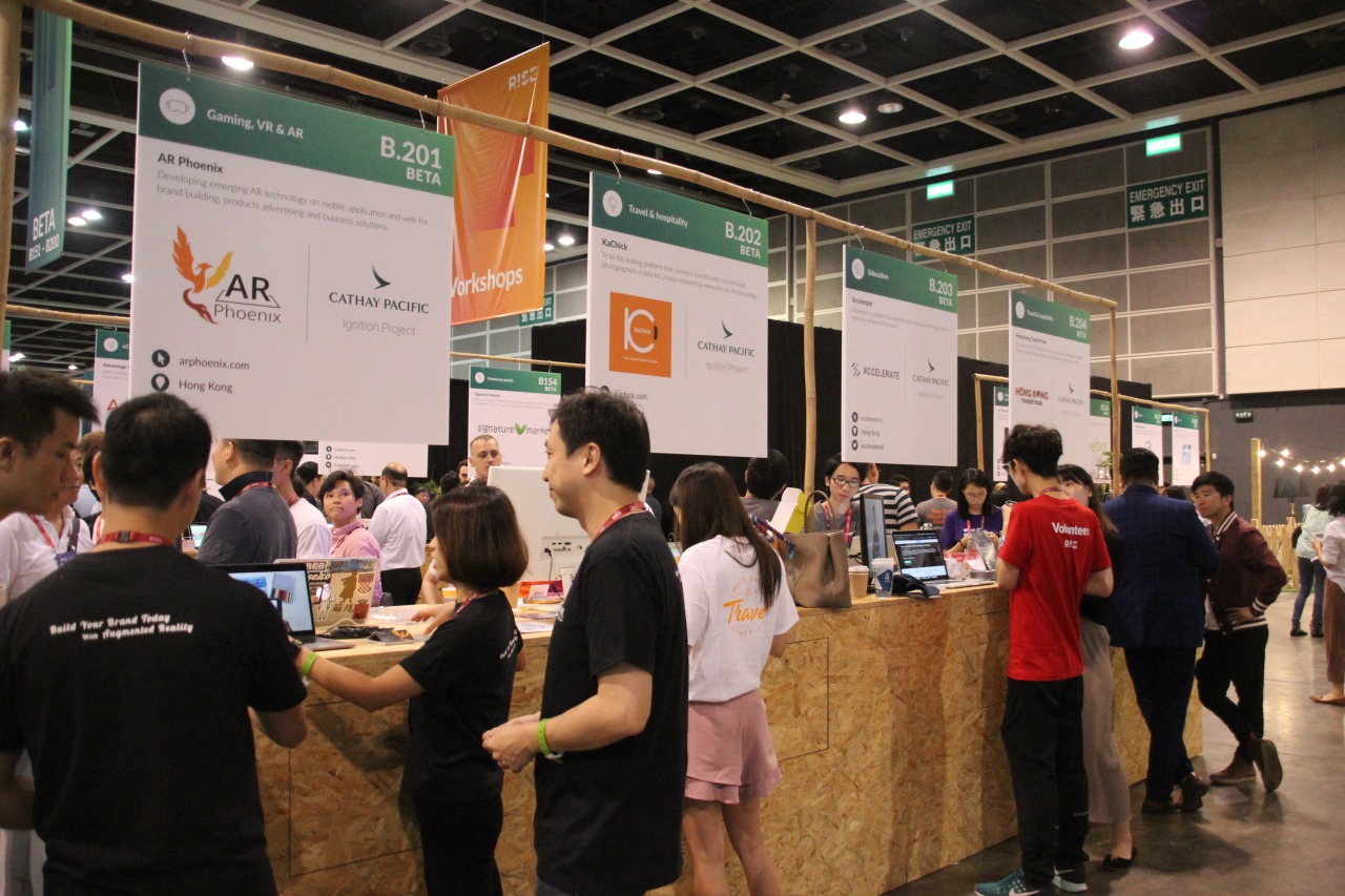 Cathay Pacific sponsors eight local startups' booths at the RISE tech conference 2019. (Lim Jeong-yeo/The Korea Herald)