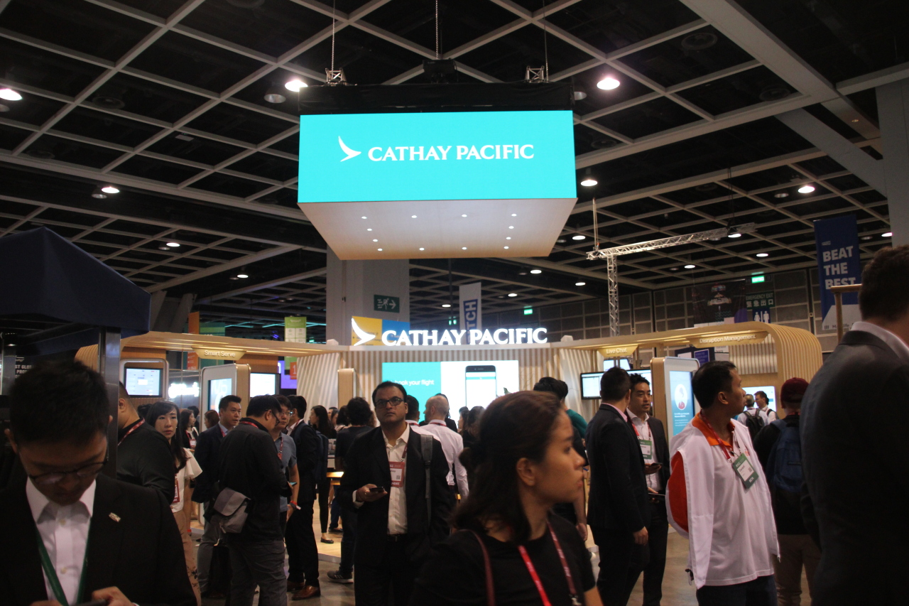 Cathay Pacific occupies a 100-square-meter exhibition space at the RISE tech conference 2019. (Lim Jeong-yeo/The Korea Herald)