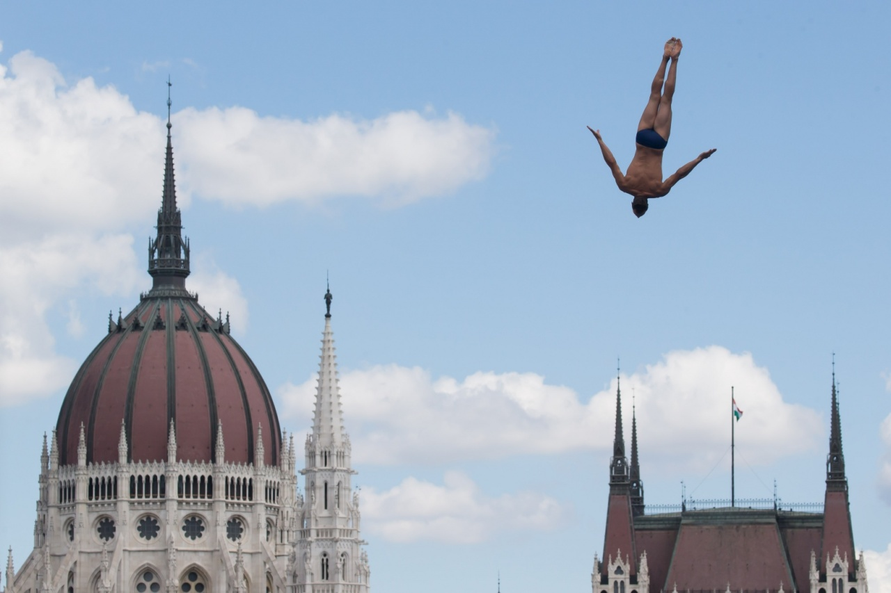 A high diver performs during the 2017 World Aquatics Championships in Budapest. (Organizing Committee of 2019 FINA World Championships)