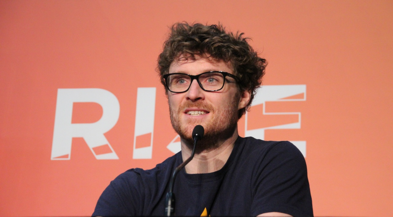 Paddy Cosgrave speaks at a press conference at RISE 2019, Tuesday. (Lim Jeong-yeo/The Korea Herald)
