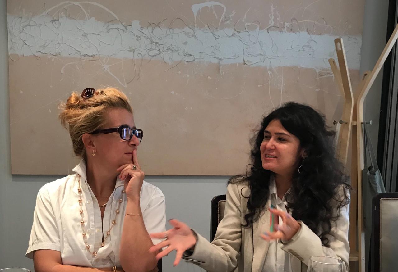 Defne Ayas (left) and Natasha Ginwala, the two artistic directors of 2020 Gwangju Biennale, speak during a press conference held in Seoul, Thursday. (Gwangju Biennale Foundation)