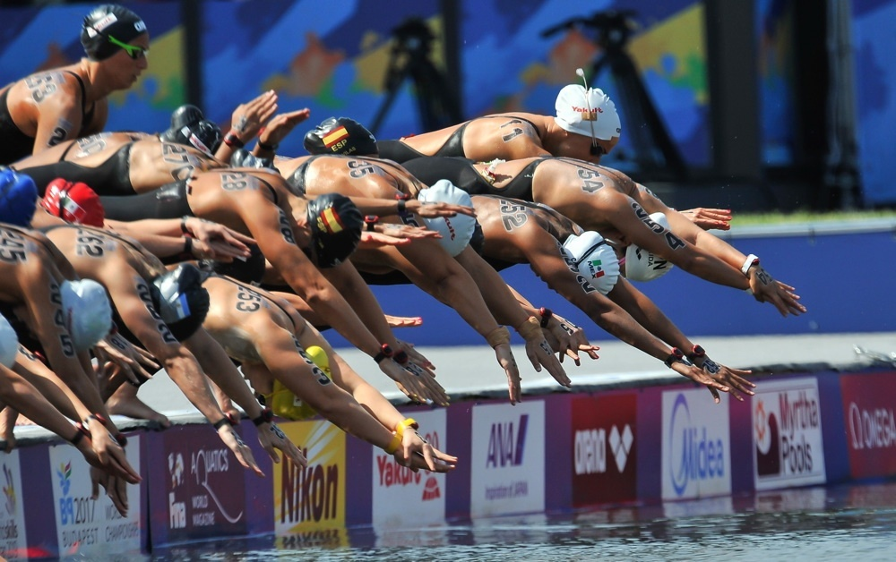 Athletes dive during the open-water swimming event at the 2017 World Aquatics Championships in Budapest. (Organizing Committee of 2019 FINA World Championships)