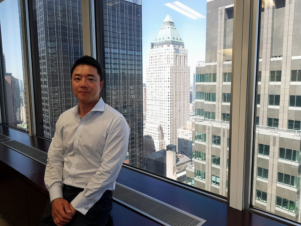 Mirae Asset Securities' New York office CEO Jae Ryu poses for a photo at the firm's office on 7th Avenue Manhattan, New York, July 1. (Jung Min-kyung/The Korea Herald)