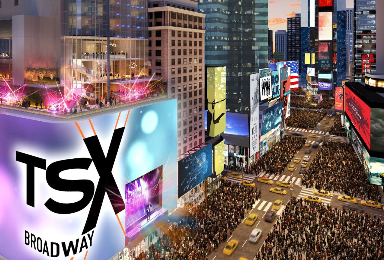 A CGI of the TSX Broadway building in Times Square, set for completion in 2021 (L&L Holding Company)