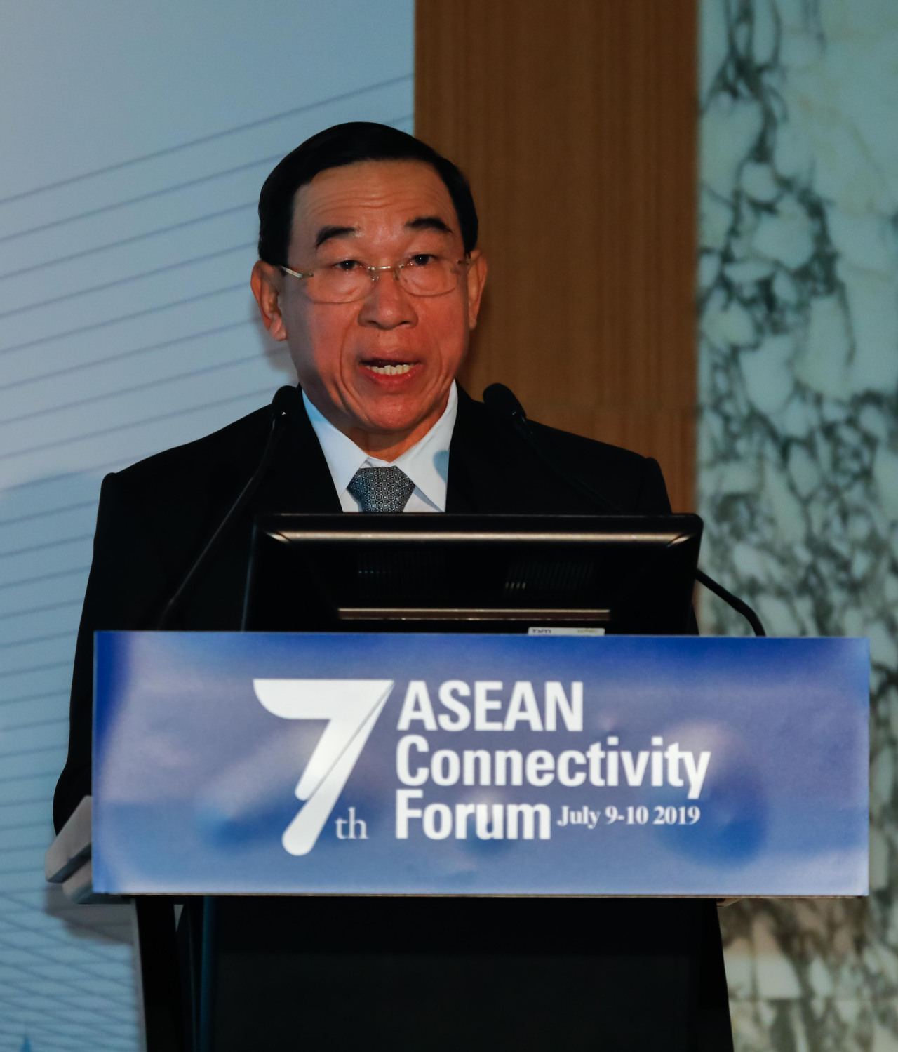 Laos Minister of Public Works and Transport Bounchanh Sinthavong delivers a keynote speech at the 7th Association of Southeast Asian Nations Connectivity Forum in Seoul on July 9. (ASEAN-Korea Center)