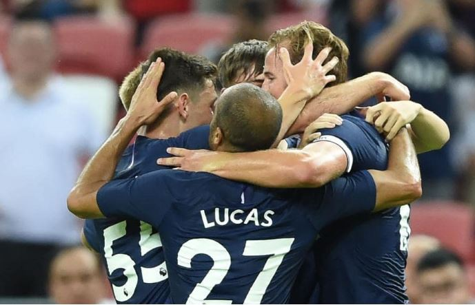 Tottenham Hotspur's Harry Kane (right) is congratulated by teammates after scoring during the International Champions Cup football match between Juventus and Tottenham Hotspur in Singapore. (AFP)