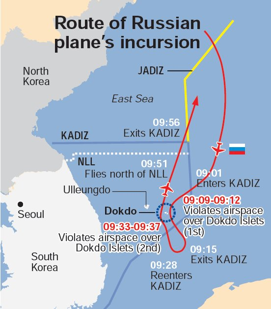 The route of the Russian plane's incursion