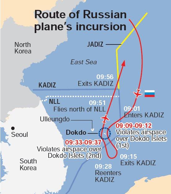 Routes of Russian plane's incursion (The Korea Herald)