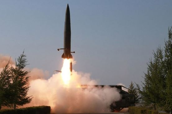 A short-range missile is launched from Kusong, North Pyongan Province in the northwestern part of North Korea, on May 9, 2019. (Yonhap)