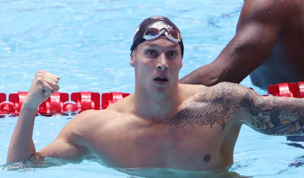 Caeleb Dressel of the United States celebrates after breaking the world record in the men`s 100m butterfly in the event`s semifinals at the FINA World Championships at Nambu University Municipal Aquatics Center in Gwangju, 330 kilometers south of Seoul, on July 26, 2019. (Yonhap)
