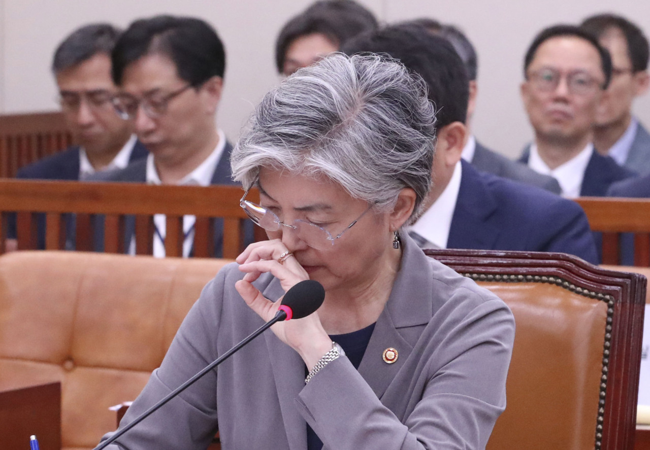 Ministery of Foreign Affairs Kang Kyung-wha attends a meeting of parliamentary committee on foreign affairs on Tuesday. (Yonhap)