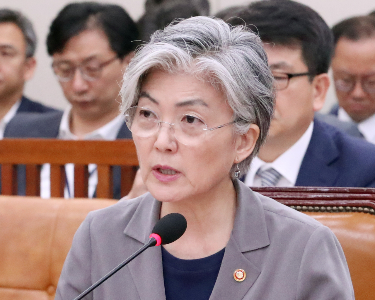 Foreign Minister Kang Kyung-wha speaks at a parliamentary committee session on Tuesday. (Yonhap)