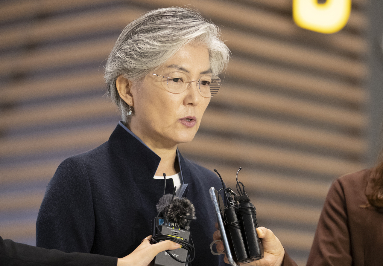 Foreign Minister Kang Kyung-hwa speaks to the press at Incheon International Airport on Wednesday. (Yonhap)