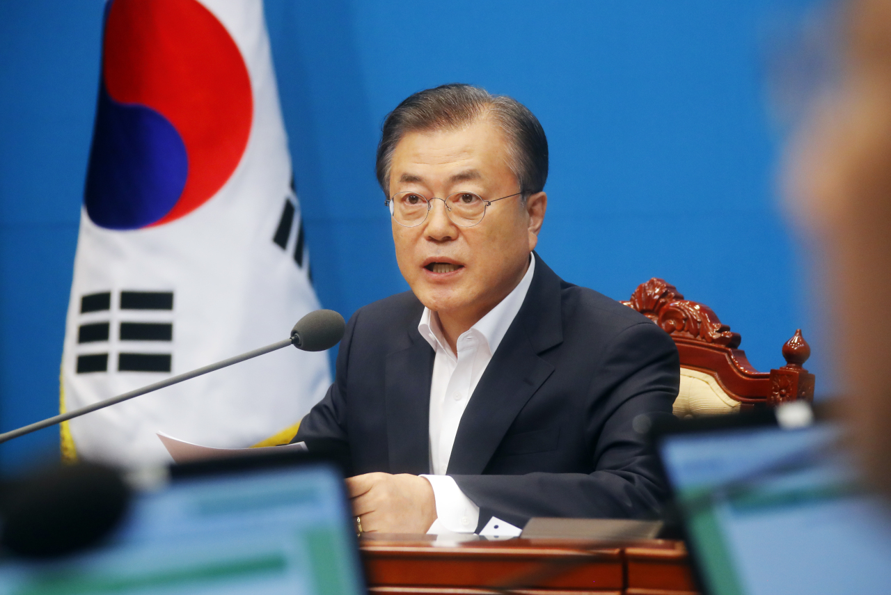 President Moon Jae-in speaks at the Cabinet meeting on Friday. Yonhap