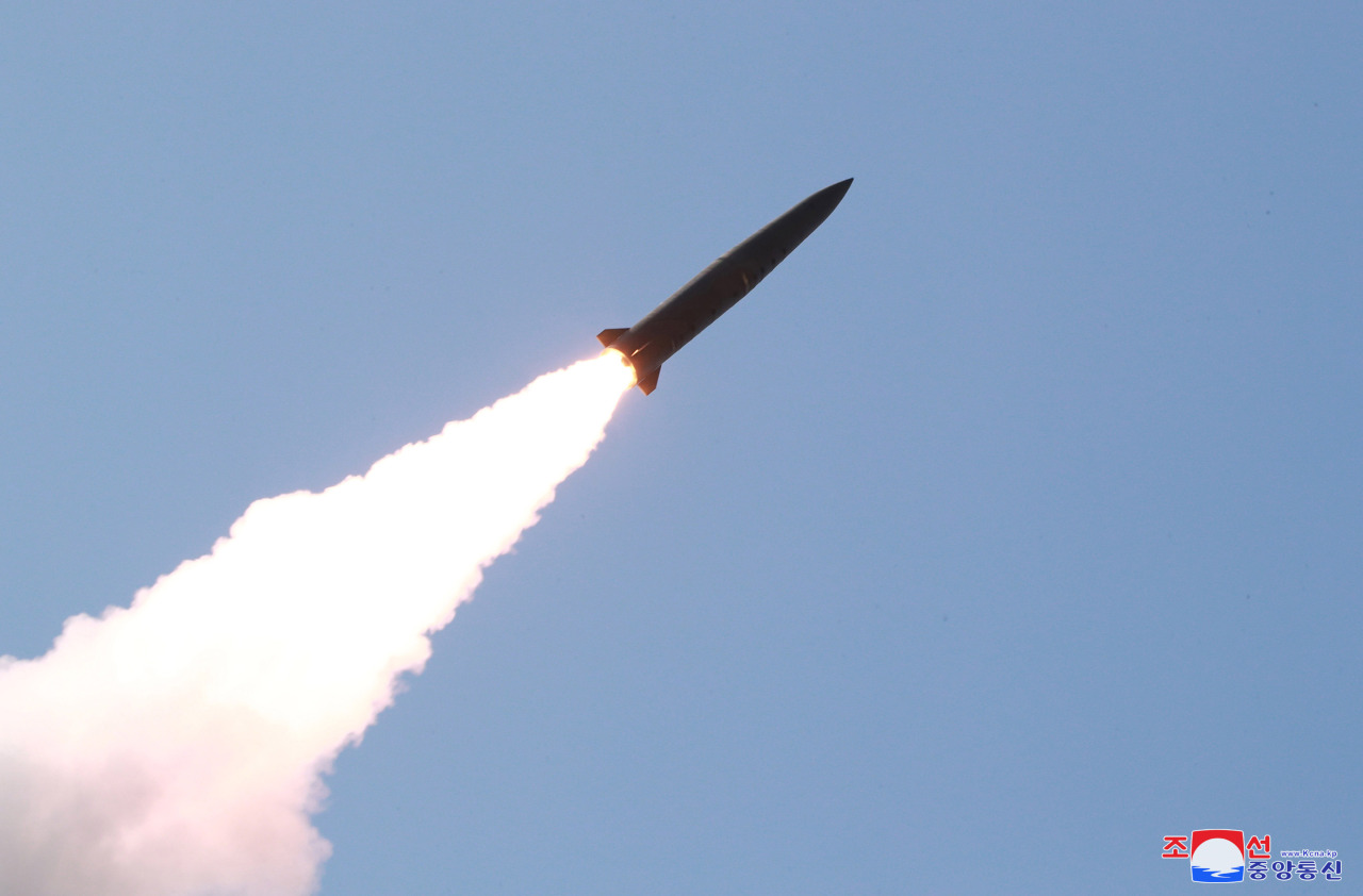 A short-range ballistic missile launched from the Hodo Peninsula near the North's eastern coastal town of Wonsan on July 25. (Yonhap)