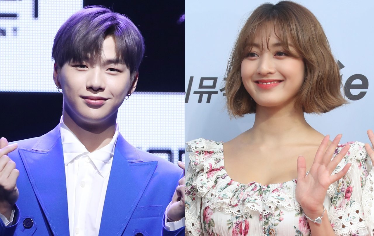Kang Daniel, left, and Jihyo (Yonhap)