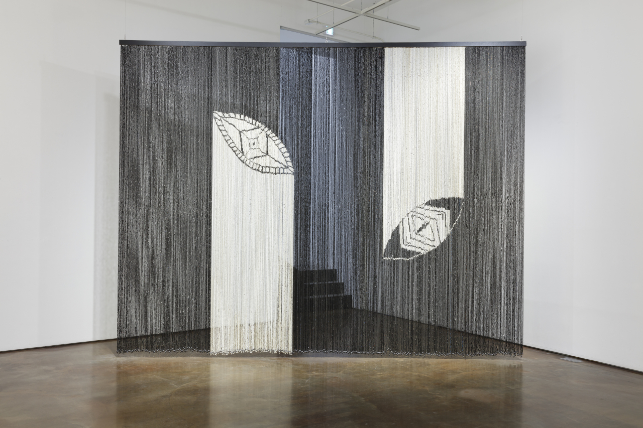 """Zora Mann's curtain installation made of recycled plastic beads, """"Cosmophagy"""" (2015) (Arario Gallery)"""