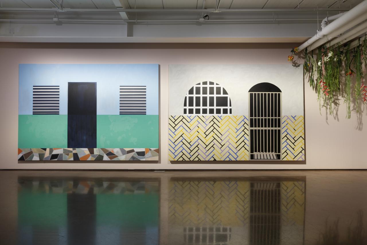"""An installation view of Sol Calero's paintings titled """"La Escuela del Sur"""" (2015) (Arario Gallery)"""