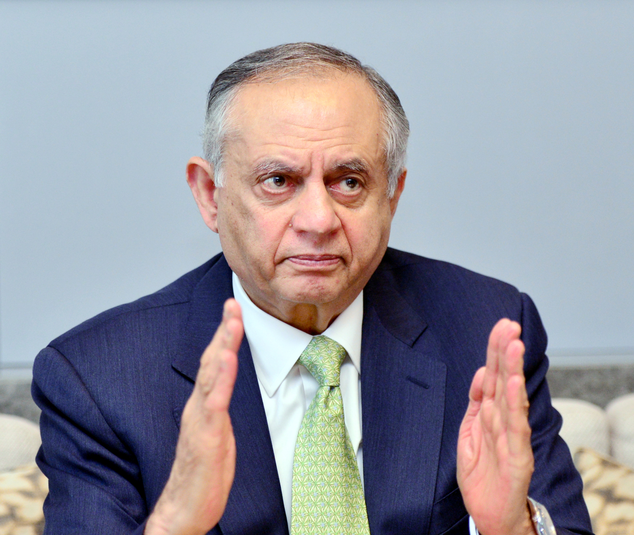 Abdul Razak Dawood, Pakistan's adviser to the prime minister on commerce, textile, industries and production and investment, speaks during an interview with The Korea Herald on Thursday. (Park Hyun-koo/The Korea Herald)