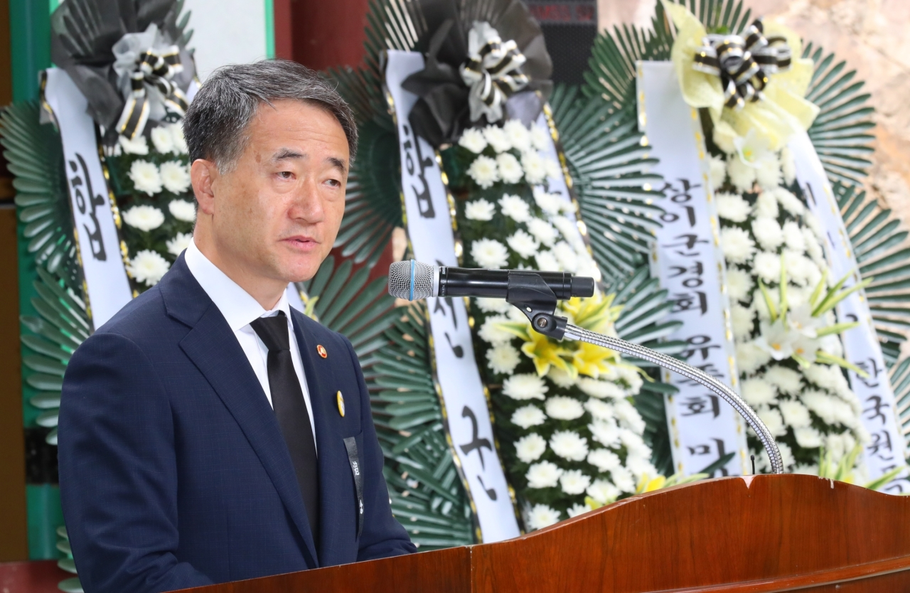 Welfare Minister Park Neung-hoo addresses a memorial on Tuesday morning. (Ministry of Health and Welfare)
