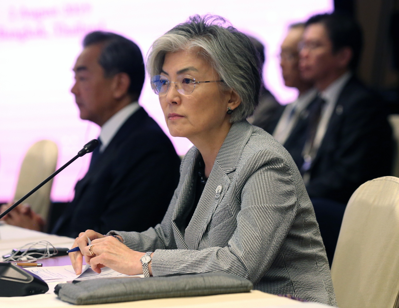 South Korean Foreign Minister Kang Kyung-wha takes part in the 20th ASEAN Plus Three Foreign Ministers' Meeting at the 52nd ASEAN Foreign Ministers' Meeting in Bangkok, Thailand, Aug. 2. (EPA-Yonhap)
