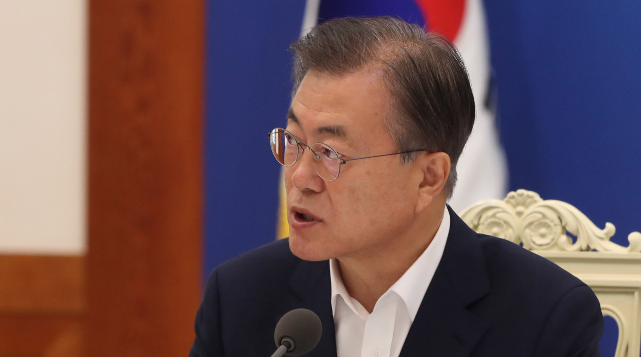 President Moon Jae-in speaks during a meeting held at Cheong Wa Dae on Thursday. (Yonhap)
