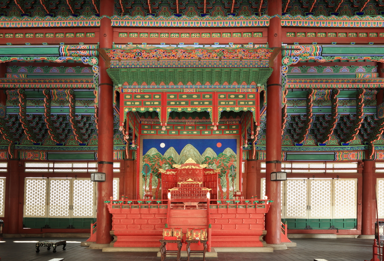 This image of the royal throne in Geunjeongjeon was provided by the Cultural Heritage Administration. (Yonhap)