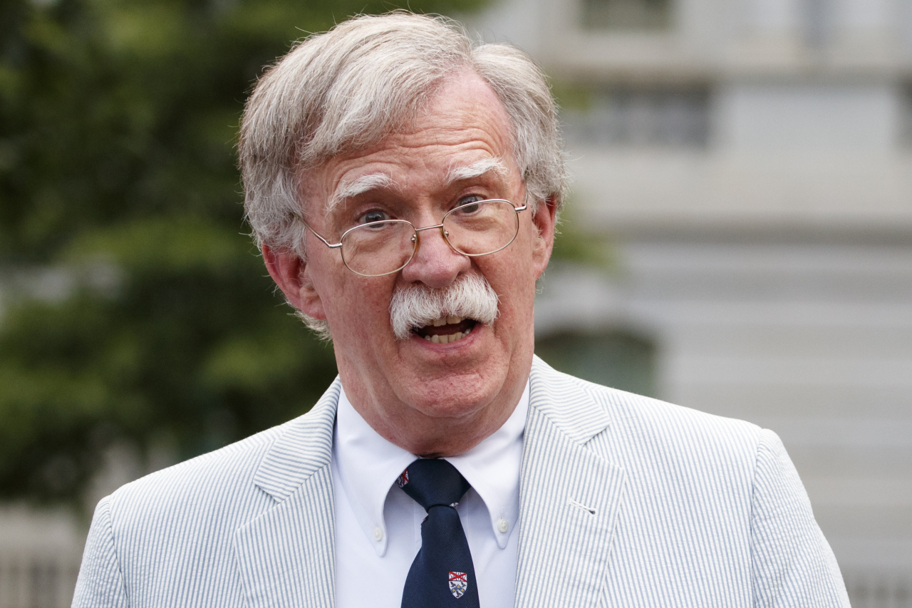 US National security adviser John Bolton speaks to media at the White House in Washington, July 31. (AP-Yonhap)