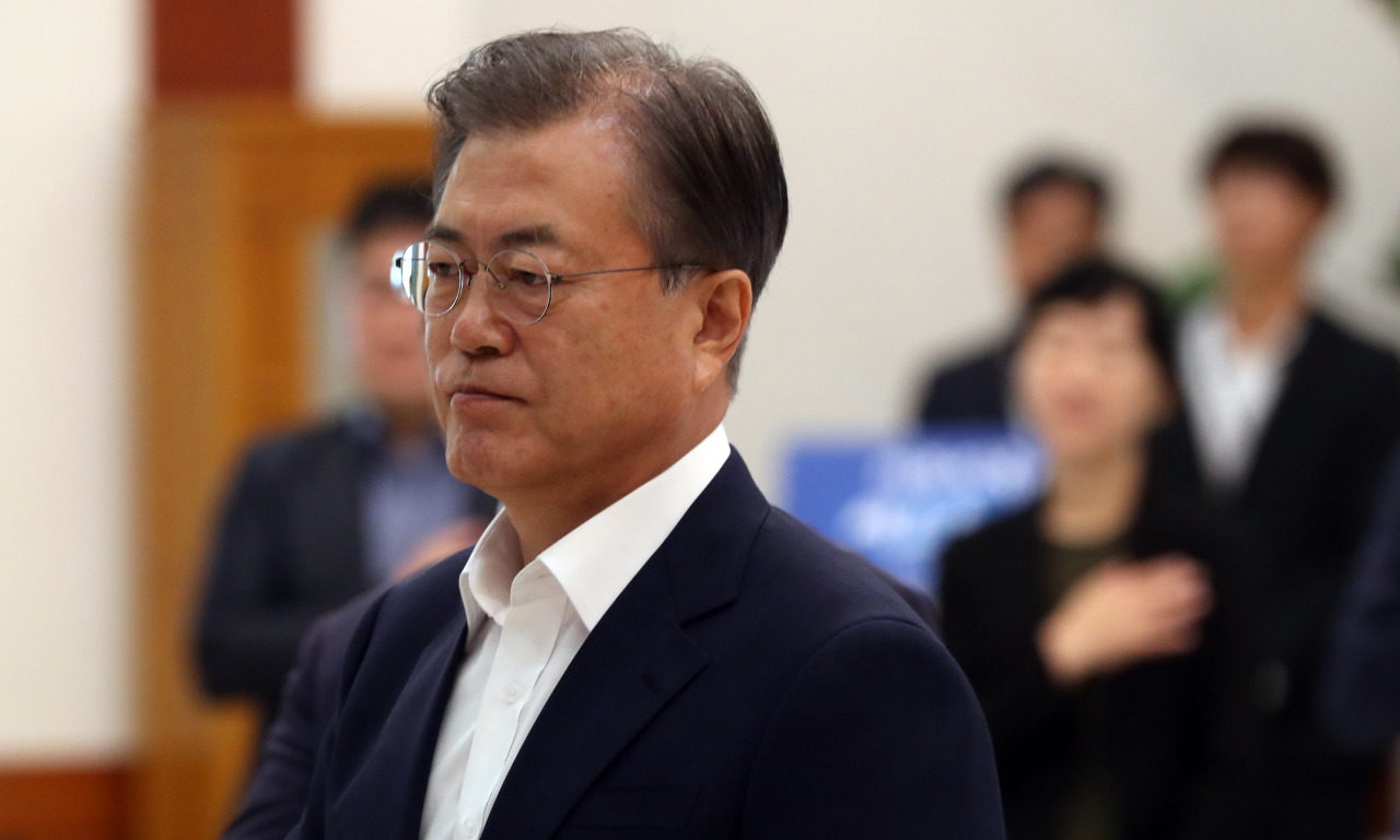 President Moon Jae-in attends an economic policy meeting on Aug. 8. (Yonhap)
