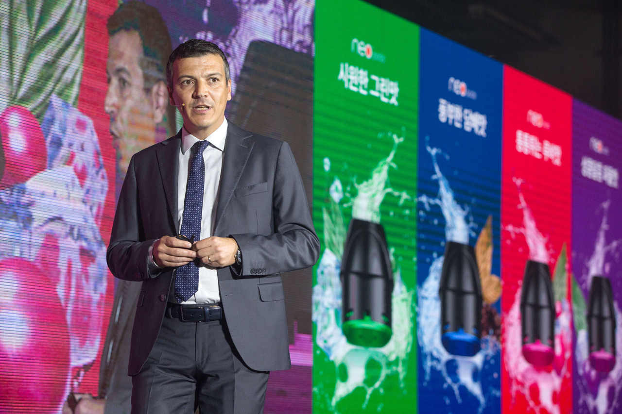 Alper Yuce, BAT Korea's chief marketing officer, speaks during a press conference held in Seoul on Tuesday. (BAT Korea)