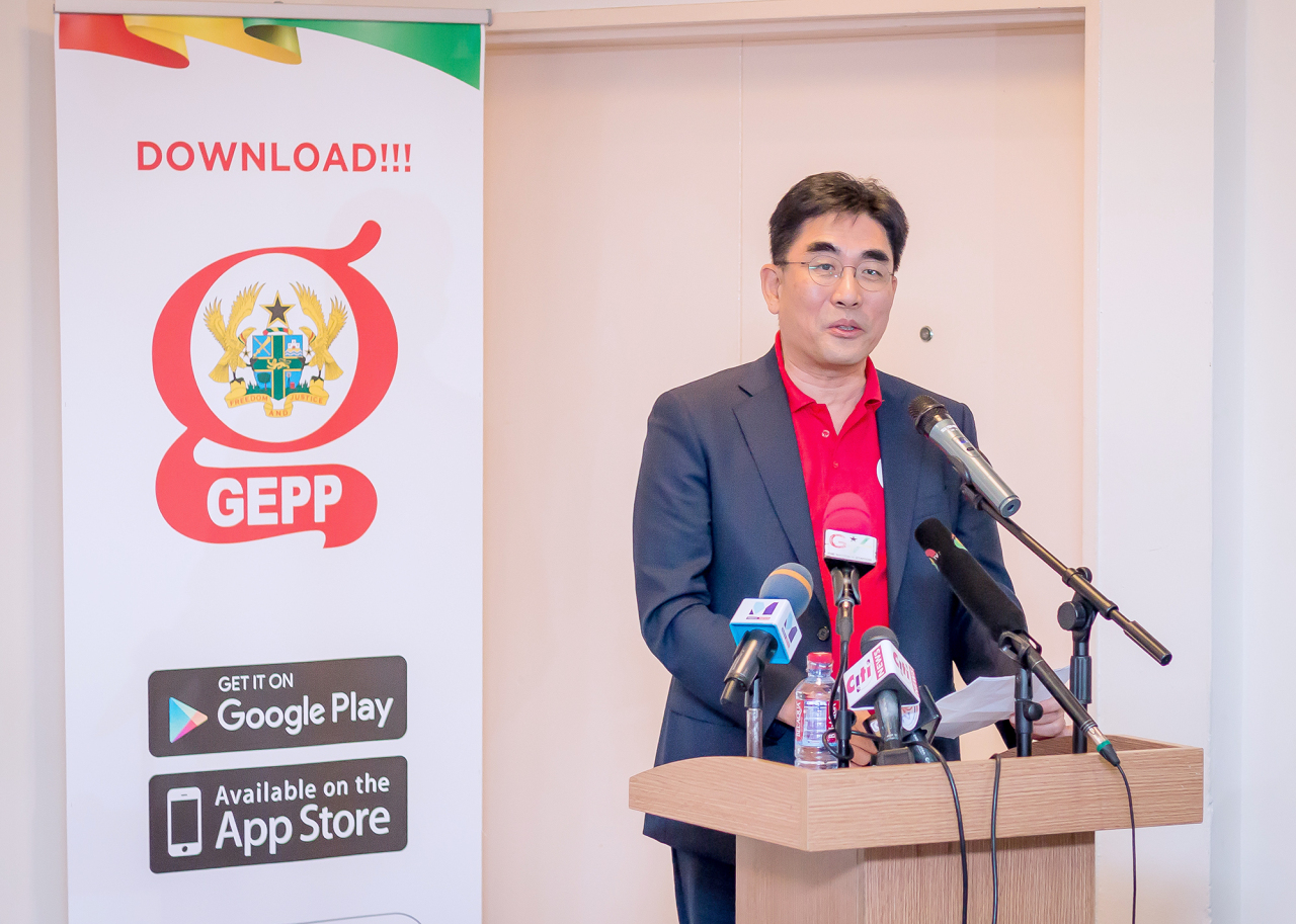 KT President Lee Dong-myeon speaks at the launch of the GEPP Ghana app Wednesday (KT)