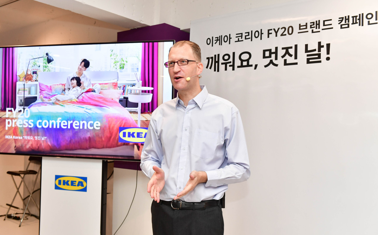 Ikea Korea Country Retail Manager Fredrik Johansson speaks during a press conference at an Ikea pop-up store in Gangnam, Seoul, on Tuesday. (Ikea Korea)