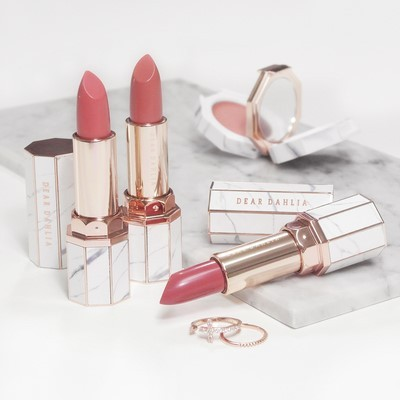 Lipsticks by Dear Dahlia are popular for their marble-patterned cases. (Dear Dahlia)