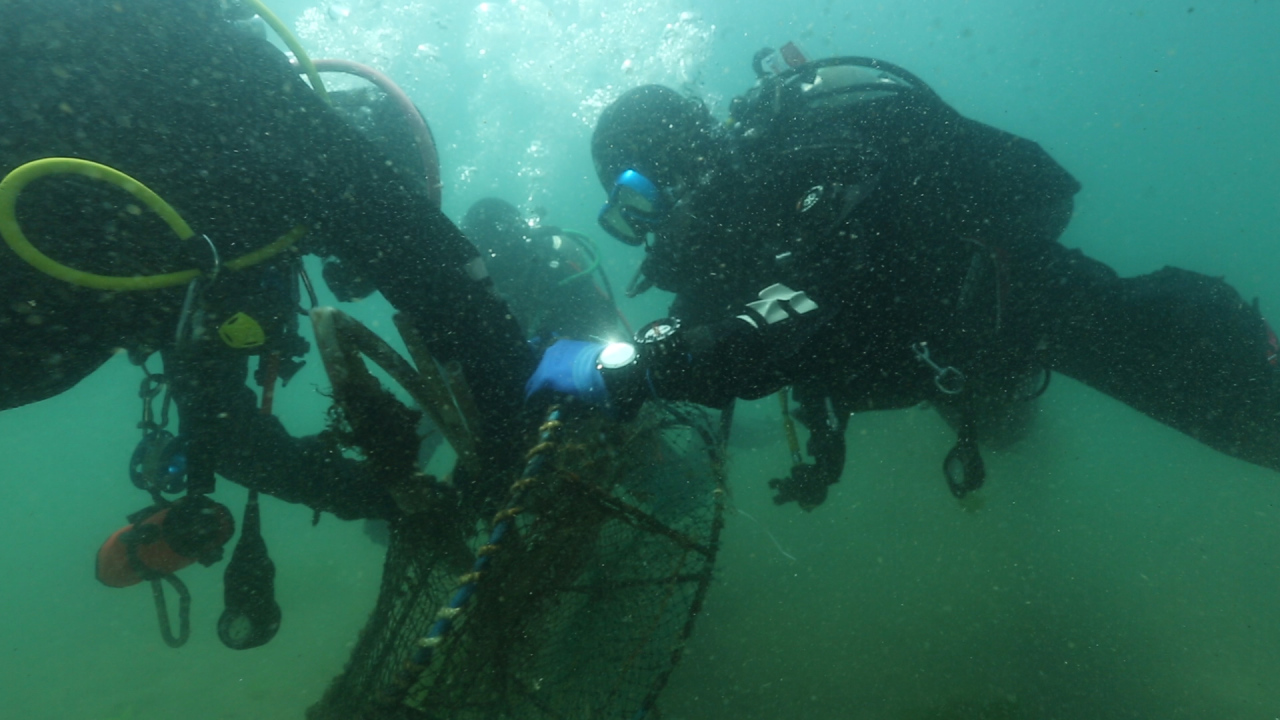 Posco's Clean Ocean Volunteer Group, consisting of executives and employees with a scuba diving license, conduct underwater cleanup off the coast of Pohang. (Posco)