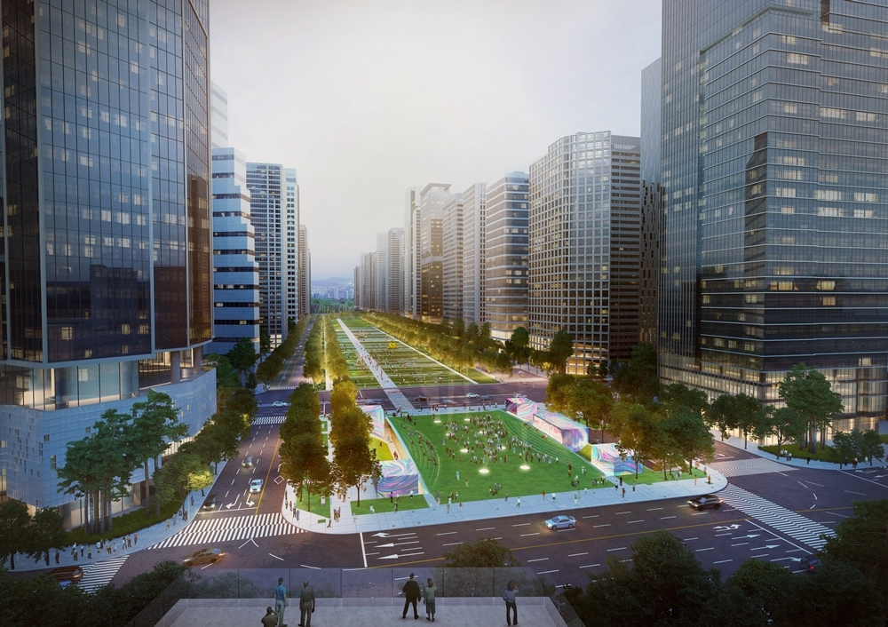 A view of the plan to transform the open space in front of Yongsan Station into a park and underground square. (HDC)