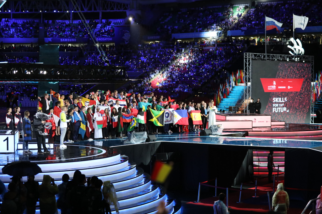 Participants take part in the closing ceremony of the biennial WorldSkills Kazan 2019 held at Kazan Arena Stadium on Tuesday evening. (Human Resources Development Service of Korea)