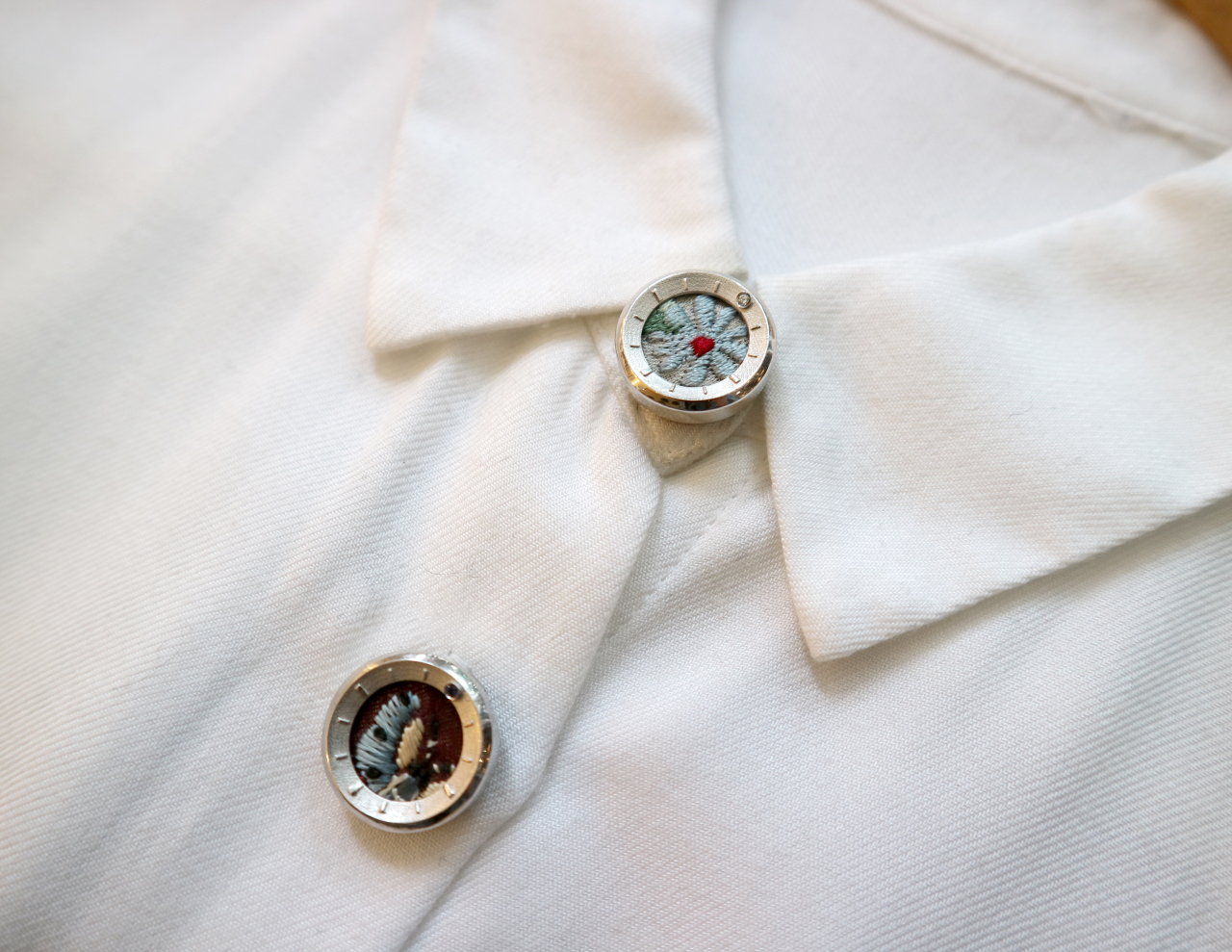 TIMELESS TIME_buttoncovers' by Lim Dong-wook using embroidered parts of hanbok dresses