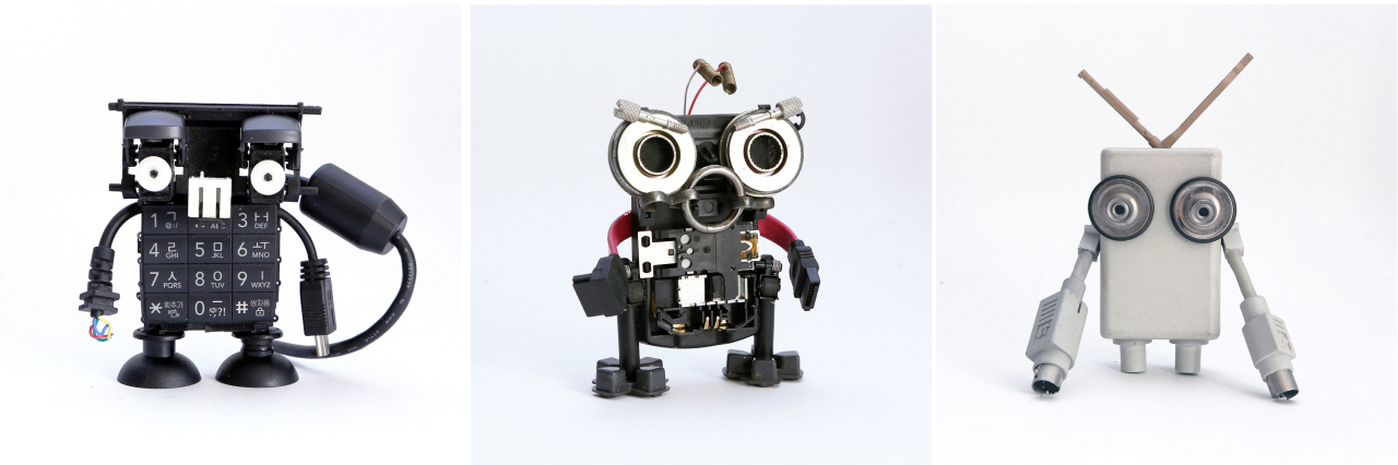Junk art toy series by Fori Sim made with parts from discarded electronics