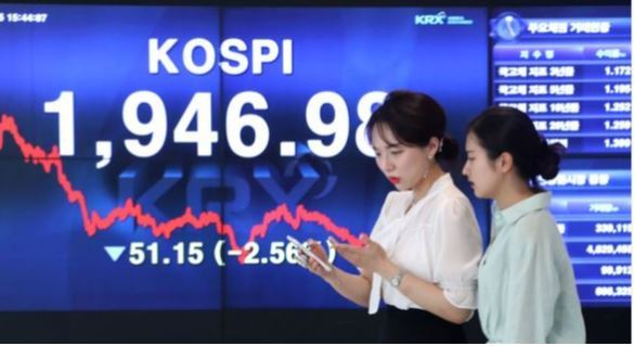 A signboard offered by the nation's main bourse operator shows that the benchmark Kospi stayed under 2,000 during a trading session earlier this month. (Korea Exchange)
