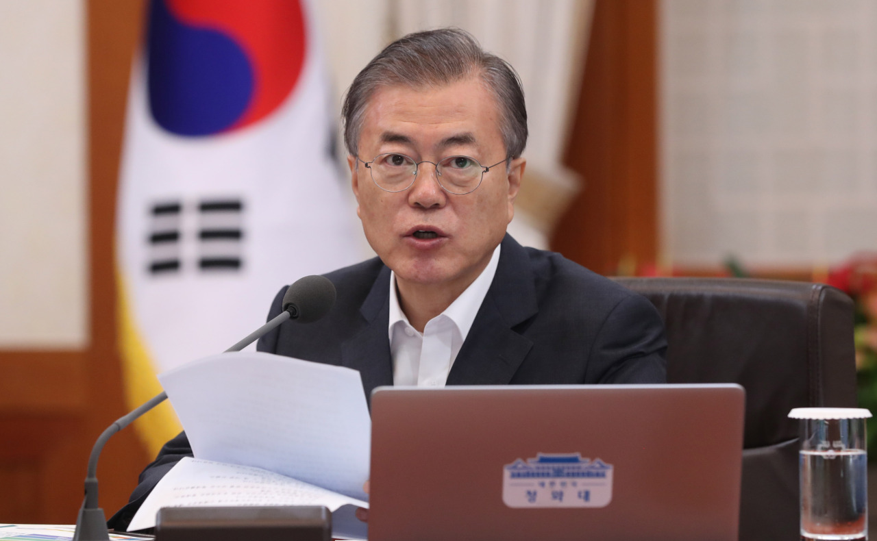 President Moon Jae-in speaks at the Cabinet meeting on Thursday. Yonhap