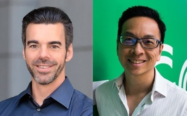 Startup Genome founder Jean-Francois Gauthier(left) and head of GrabVentures Chris Yeo