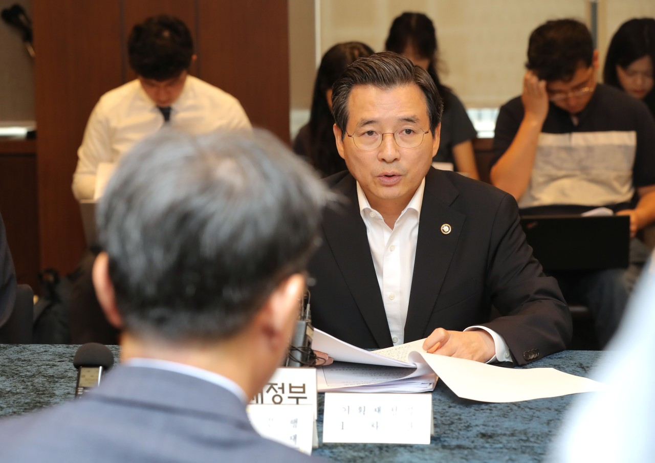 Finance Vice Minister Kim Yong-beom speaks Tuesday in a macroeconomic policy meeting. (Yonhap)