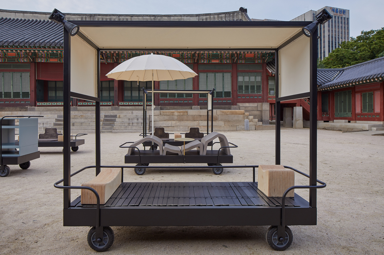"An installation view of ""Furniture for an Emperor in Transition"" by William Lim, in the courtyard of Hamnyeongjeon, Emperor Gojong's bedchamber (MMCA)"
