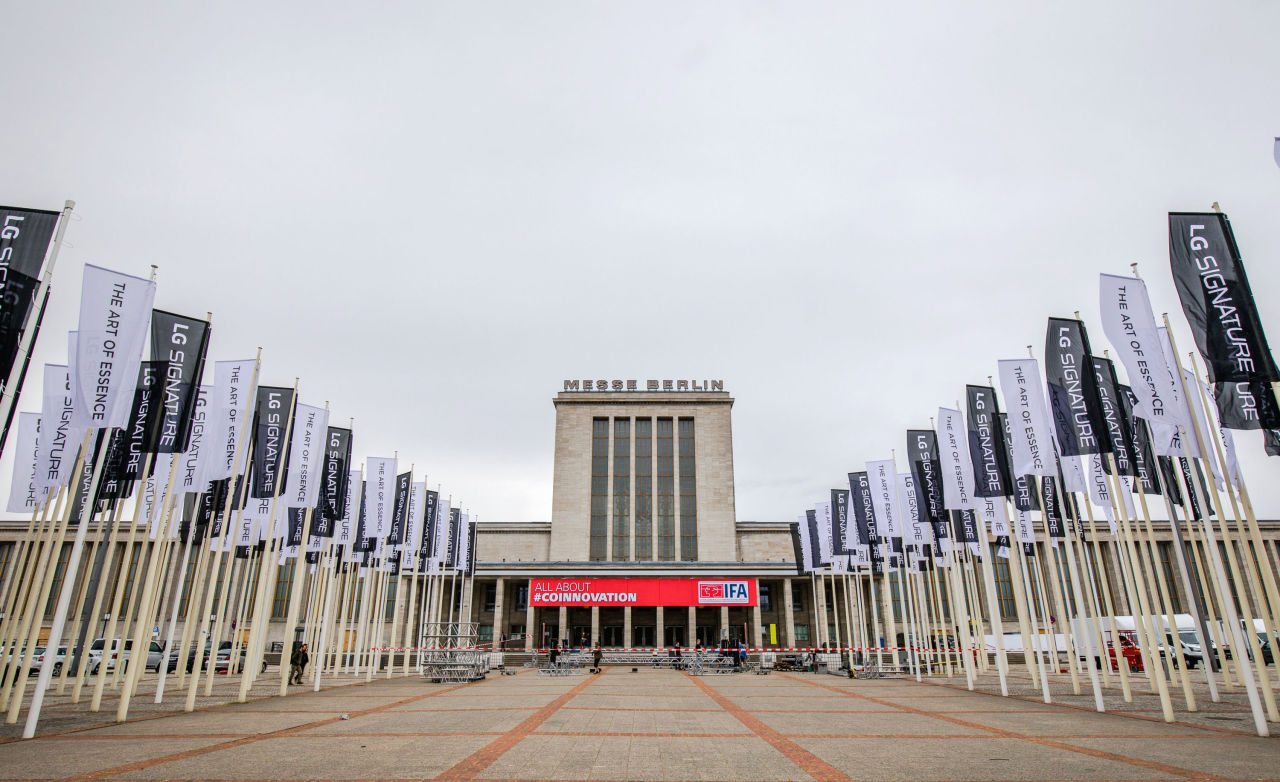 LG banners are placed at the venue of IFA in Berlin, Germany. (LG Electronics)