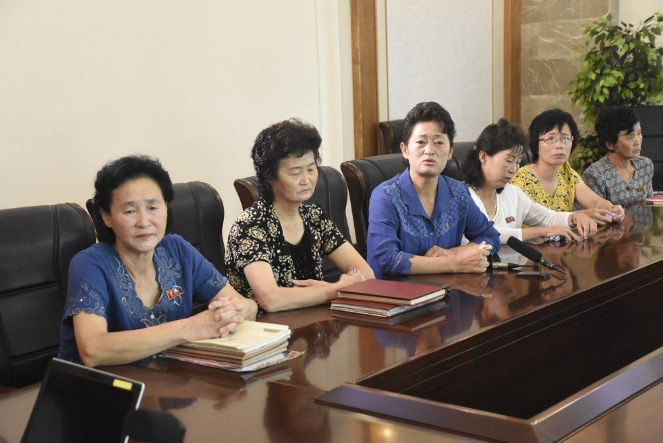Parents of the 12 North Korean women, believed to have defected to South Korea in April 2016, speak to the fact-finding committee on Tuesday. (IADL, Minbyun)