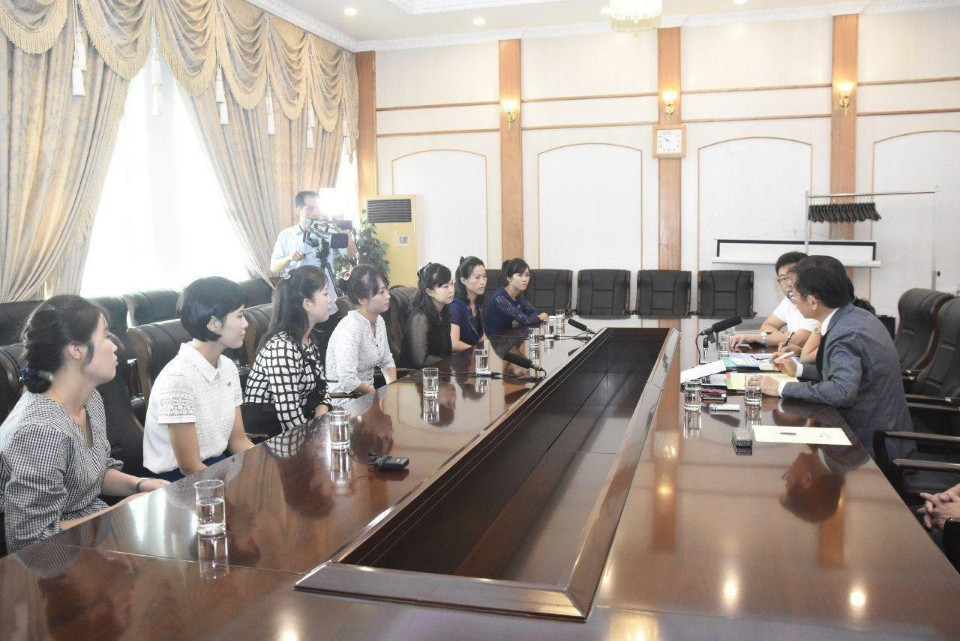 Seven North Korean women, who were former colleagues of the alleged defectors at the restaurant in Ningbo, China, speak with the international lawyers on Monday at a hotel in Pyongyang. (IADL, Minbyun)